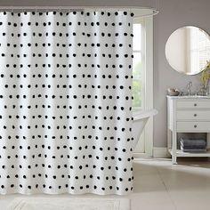 Madison Park Sophie Shower Curtain | Bed Bath & Beyond Shower Curtain Rods, Bathroom Shower Curtains, Fabric Shower Curtains, Hall Bathroom, Guest Bathrooms, Master Bathroom, Plywood Furniture, Eames, Fabric Pom Poms