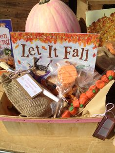 Girl pumpkin patch party- favors: fall themed book, candy tube filled with pumpkins, pumpkin paint kit including paints and paintbrush in burlap bag, pumpkin Oreo pop