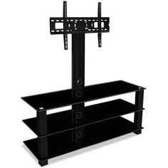 Mount-It! TV Stand with Mount, Entertainment Center for Flat Screen TVs Between 32 to 60 Inch, 3 Tempered Glass Shelves and Powder Coated Aluminum Columns, Vesa Compatible TV Mount, Black (MI-866)