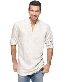 Cubavera Shirt, Slit Neck Popover - Mens Casual Shirts - Macy's