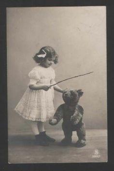 Teddy Bear Charming Girl as Teacher Vintage Photo PC