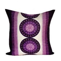 Retro 1970's Purple Cushion Cover. Handmade from vintage fabric & organic denim. Retro 68
