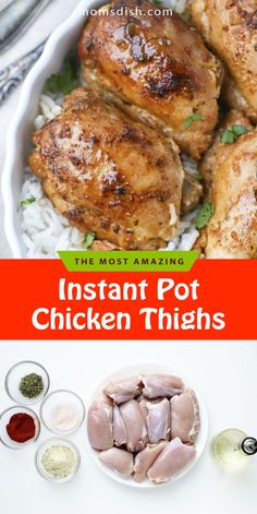 These instant pot chicken thighs are crazy easy to make and perfect for meal prep or as a weekday lunch. This recipe has tons of flavor and is perfect for any buts day. This will become your favorite way to prepare chicken thighs. These chicken thighs only take 30 minutes to make and are super tender and juicy. #instantpotrecipes #instantpotchicken #chickenrecipes #chickenthighs #dinnerrecipes #dinnerideas #easydinnerrecipes #chicken