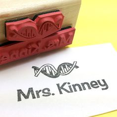 Biology Science Teacher Name Custom Rubber Stamp by RADstamps