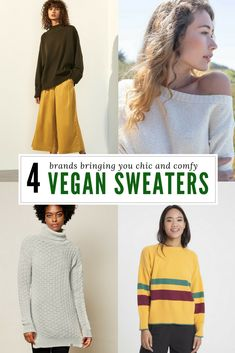 4 Brands Making the Comfiest Vegan Sweaters - Kale & Cotton Fashion Moda, Fast Fashion, Slow Fashion, Fashion Outfits, Vegan Clothing, Ethical Clothing, Sustainable Fashion, Sustainable Living, Ethical Fashion Brands