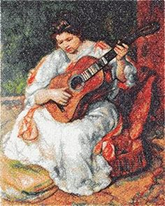 Advanced Embroidery Designs - Woman Playing the Guitar by Renoir