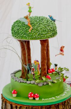Tinkerbell cake red | Everything about this party is stunning! Corette has so many beautiful ...