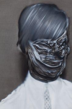 "Stephen Balleux, ""David"", oil on canvas mounted on board, 2010 Abstract Faces, Inspirational Artwork, Dark Beauty, Medium Art, Contemporary Paintings, Mixed Media Art, Amazing Art, Illustration Art, David"