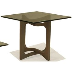 Occasional Tables Square End Table With Open Wood Base And Smoky Glass Top  By BeModern At Belfort Furniture