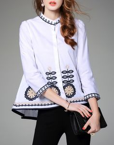 Embroidered White Long Sleeve A Line Shirt