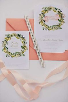 smitten on paper wedding invitations, blush wreath holiday wedding invitations
