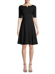 Nanette Lepore Perfect Textured Fit-&-flare Dress In Black Nanette Lepore, Fit Flare Dress, World Of Fashion, Luxury Branding, Dress Outfits, Dresses For Work, Texture, Clothes For Women, Fitness