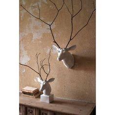 Kalalou Wall Mount Ceramic Deer Head White