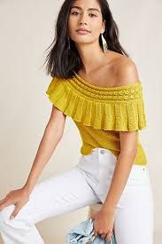 Anthropologie Yellow Ruffled Off the Shoulder Top Shirt Knit Sweater Size XS 0 S Women's Dresses, Duster Cardigan Sweater, Ralph Lauren, Fashion For Women Over 40, Party Fashion, Mom Fashion, Fashion Spring, Classy Outfits, Classy Clothes