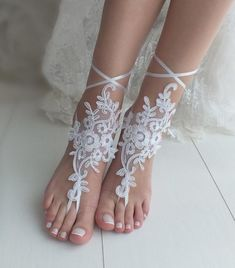 053a62f9d33e8 White barefoot sandals Lace barefoot sandals Bridal shoes
