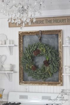 french country cottage - doesn't this want you to go round up a chalkboard just for your wreath? Gorgeous!