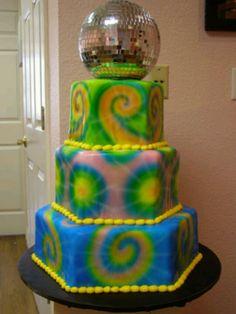 Tie Dye Disco Ball Cake