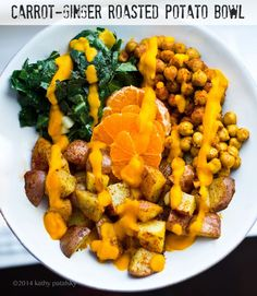 Carrot-Ginger Roasted Potato Bowl with Collards & Spiced Chickpeas. I made this like 5 times in ILM it was amazing. Could easily be tweaked to be a bowl too.