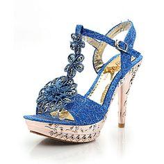 Stiletto talón talones sandalias de las mujeres del brillo espumosos con zapatos de flores (más colores) – USD $ 39.99