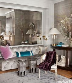 Antiqued mirror tile wall.