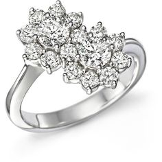 Diamond Flower Two-Stone Ring in 14K White Gold, 1.50 ct. t.w. ($7,200) ❤ liked on Polyvore featuring jewelry, rings, accessories, white, white ring, 14k ring, 14k white gold ring, diamond jewelry and flower ring