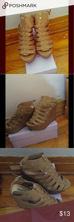 Tan wedges These tan wedges were only worn twice. Great condition. Charlotte Russe Shoes Wedges