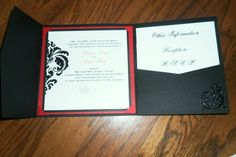 Our DIY tri fold Invitations! :  wedding black diy invitations red white