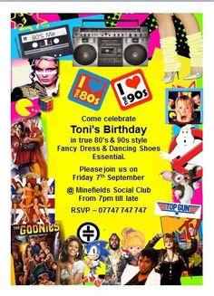 10 Retro New Fancy Dress Disco Birthday Invitations 80s & 90s Party FREE ARTWORK