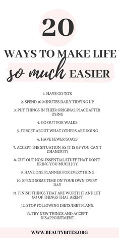 20 Ways To Simplify Your Life & Be Happier – Beauty Bites 20 ways to make your life so much easier! Healthy daily habits to start morning routine Good Habits, Healthy Habits, Vie Motivation, Self Care Activities, Self Improvement Tips, Self Care Routine, Best Self, Self Development, Personal Development