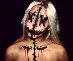 100 Sexy Halloween Makeup Looks That Are Creepy Yet Cute Creepy Makeup, Creepy Halloween Costumes, Cool Halloween Makeup, Hallowen Costume, Halloween Looks, Sfx Makeup, Makeup Art, Makeup Ideas, Halloween Face