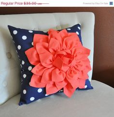 NEW YEARS SALE Coral Dahlia on Navy and White Polka by bedbuggs, $32.00