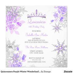 Shop Quinceanera Pink Rose Winter Wonderland Snowflake Invitation created by Zizzago. Custom Invitations, Party Invitations, Purple Sweet 16, Snowflake Invitations, Purple Wedding Centerpieces, Purple Roses, Pink, Flower Girl Bouquet, Purple Birthday