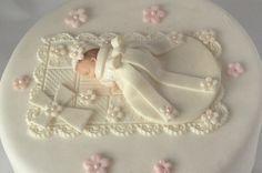 CHRISTENING CAKE TOPPER Baby Girl First birthday Baby Shower Baptism cake topper Edible cake topper Gum paste Cake topper via Etsy