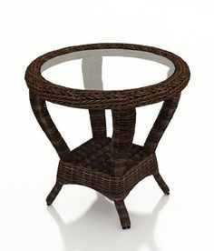 Pin it! :) Follow us :))  zPatioFurniture.com is your Patio Furniture Gallery ;) CLICK IMAGE TWICE for Pricing and Info :) SEE A LARGER SELECTION of  patio side tables at http://zpatiofurniture.com/category/patio-furniture-categories/patio-side-tables/ -  home, patio, home decor, patio side tables  -   Forever Patio Leona Modern Outdoor Wicker Round End Table with Glass (SKU FP-LEO-RET-MC) « zPatioFurniture.com
