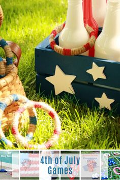 These of July games are guaranteed to be entertaining! From glow-in-the-dark ring toss to balloon dart there is something for everyone! 4th Of July Games, July 4th, Ring Toss, Game 4, Diy Rings, July Crafts, Favorite Holiday, Balloons, Glow