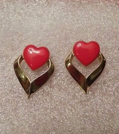 Vintage dangle gold tone and red heart earrings Heart Earrings, Stud Earrings, Vintage Costumes, Heart Ring, Pierced Earrings, Gold Rings, Cufflinks, Dangles, Red
