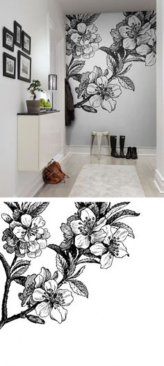 Ideas flowers black and white wallpaper wall murals Deco Design, Wall Design, Design Design, Interior And Exterior, Interior Design, Interior Modern, Black And White Wallpaper, Black White Art, Wall Drawing