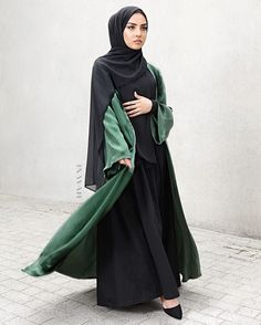 - We use the highest quality of fabrics to ensure you look and feel fashionable; modest occasion wear to suit all your styling needs.  Green Silk Satin Kimono  Black Tailored Flare Abaya  Black Soft Crepe Hijab  www.inayah.co