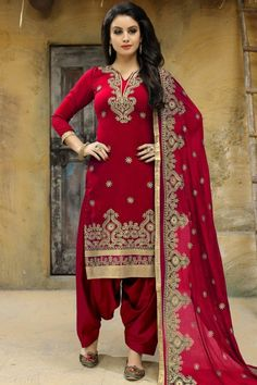6eace186ce Embroidered Silk Red Patiala Suit Designer Suits For Wedding, Wedding Suits,  Patiala Salwar Suits