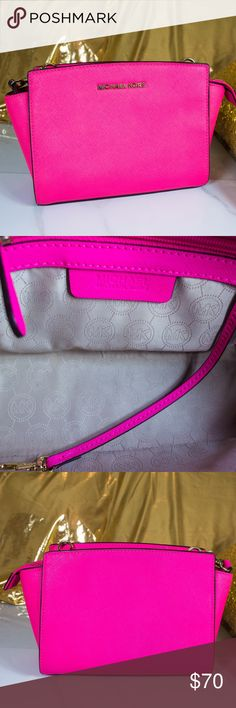 Michael Kors Small Pink Selma Crossbody SUPER PINK! Super fun! Super bright! Michael Kors Small Pink Selma Crossbody. Saffiano leather. In EXCELLENT condition. Really no signs of wear. I keep all of my belongings in great condition! Shipped with MK duster bag. Michael Kors Bags Crossbody Bags