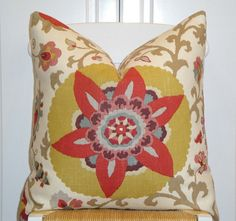 BOTH SIDES - Decorative Pillow Cover - 22 X 22 - Floral - Paprika - Red - Maize - Aqua - Taupe