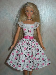 Handmade Barbie clothes  white with pink roses by TheDesigningRose, $7.00