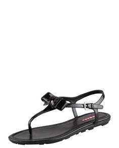 Patent Leather Bow Thong Sandal, Black by Prada at Bergdorf Goodman.