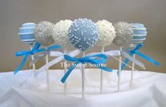 Light Blue, Grey and White Cake Pops...idea for Aunty Tee ;-)