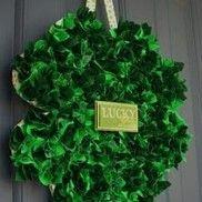 four leaf clover wreath; coffee filters?