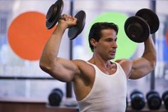 Train opposing muscles together--such as your biceps and triceps--to maximize your gym time.