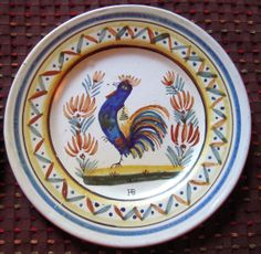 Antique French Quimper Blue Rooster Plate
