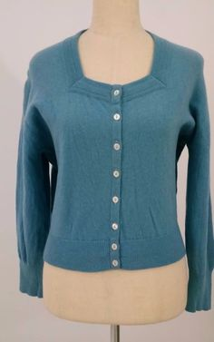 1960s Hudson Bay Co. Womens Size L Large Cardigan Sweater Blue Made in Scotland #HudsonBayCo #Cardigan #Work