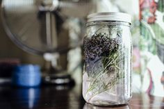 This lavender-infused all-purpose cleaner is a green (and lovely-smelling) alternative to harsh cleaning products. All you need is a 32 oz. mason jar, 1 cup dried lavender, 3-4 sprigs of rosemary, white vinegar, and cheesecloth | DunnDIY.com | #DIY #greencleaning