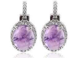 8MM Amethyst Purple Stone Halo Diamond CZ Drop Earrings Solid 925 Sterling Silver February Birthstone Bridal Earrings